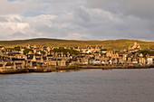 Lerwick, elevated view from the sea, morning light, Lerwick, Mainland, Shetland Isles, Scotland, United Kingdom, Europe
