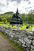 Surrounding stone walls of Borgund Stave Church and cemetery, Laerdal municipality, Sogn og Fjordane county, Norway, Scandinavia, Europe