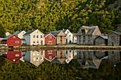 Evening mood in Gamle Laerdalsöyri (Laerdal), Sognefjord, Sogn og Fjordane, Norway, Europe