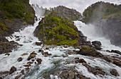 Double-waterfall Latefossen near Skare, Hordaland, Norway, Europe