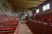 In der Stabkirche Roeldal, Stavkyrkje Roeldal, Roeldal, Odda, Hordaland, Norwegen, Europa