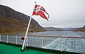 Hurtigruten crosses the Stokksund, Stokksundet, Sör-Trondelag Province, Trondelag, Norway, Europe