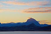 Mountains at Roedoeyfjorden (Roedoeyfjord), Rödöyfjord, Svartisen Glacier, sunrise, Helgeland coasts, Nordland Province, Salten, Norway, Europe
