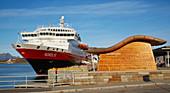 Hurtigruten ship Nordlys in the port of Bodö, Saltfjorden, Saltfjord, Nordland Province, Nordland, Norway, Europe
