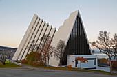 Arctic Cathedral in Tromso, Ishavskatedralen, Tromsöysundet, snow, Troms, Norway, Europe