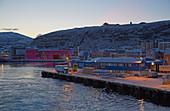 Harbor in Hammerfest at dawn, Kvalöya Island, Finnmark Province, Vest-Finnmark, Norway, Europe