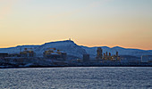 Gas liquefaction plant at Hammerfest, dawn, Melköya Island, Finnmark Province, Vest-Finnmark, Norway, Europe