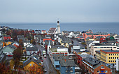 View over Hammerfest with Hammerfest Kirke, church, Kvalöya Island, Finnmark Province, Vest-Finnmark, Norway, Europe