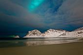 Aurora Borealis (Northern Lights) over Haukland beach, Lofoten Islands, Nordland, Arctic, Norway, Europe