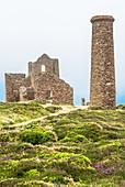 Wheal Coates Tin Mine on a foggy day, UNESCO World Heritage Site, on the Cornish coast near St. Agnes, Cornwall, England, United Kingdom, Europe
