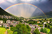 Rainbow above the valley, Valtellina, Lombardy, Italy, Europe