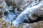 Waterfall of Mallero Gorge in winter, Valmalenco, Valtellina, Lombardy, Italy, Europe