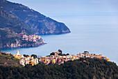 Village of Corniglia and Manarola, Cinque Terre, UNESCO World Heritage Site, Liguria, Italy, Europe