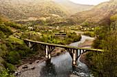An abandoned railway bridge in Abkhazia, Akhmara region, Georgia, Central Asia, Asia