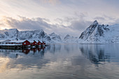 Fishing village in winter, Hamnoy, Lofoten Islands, Arctic, Norway, Europe