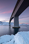 Fredvang Bridge at sunset in winter, Lofoten, Arctic, Norway, Europe