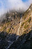Mountain forest and waterfall near Innsbruck in the morning mist, Upper Bavaria, Bavaria, Germany