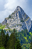 View up to the Geiselstein, direction half, Ammergau Alps, Bavaria, Germany