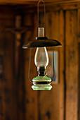 Lantern ivor the Herrgottswinkel of an old farmhouse, Upper Bavaria, Bavaria, Germany