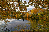Hubertussee in autumn, Charlottenburg-Wilmersdorf district in the Grunewald villa colony, Berlin, Germany