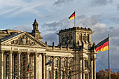 Reichstag, parliament and Bundestag, German national flag, Berlin, Germany
