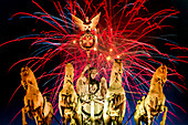 Brandenburg Gate on New Years Eve, Quadriga, fireworks, Berlin, Germany