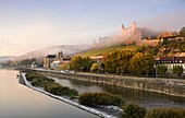 from the old Main Bridge, view to the fortress, Würzburg, Lower Franconia, Bavaria, Germany