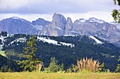 View to Sella over San Cassiano, Alta Badia, Dolomites, South Tyrol, Italy
