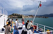 on the ferry in front of Portoferraio, Elba, Toscana, Italy