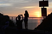 Sunset in Corniglia, Cinque Terre, east coast of Liguria, Italy