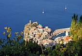 Vernazza with bay of Monterosso, Cinque Terre, east coast of Liguria, Italy