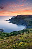 Sunset captured from the South West Coast Path above Chapman's Pool on Dorset's Jurassic Coast on an evening in early July.