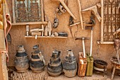 Collection of various pottery and crude tools used by Berber nomads, Tighmert Oasis, Morocco