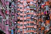 China, Hong Kong, Hong Kong Island, densely crowded apartment buildings
