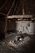 """UNESCO World Heritage Site """"Archaeological Border Complex Haithabu and Danewerk"""", Viking buildings, typical housing in the archaeological museum complex Haithabu, Busdorf, Schleswig-Flensburg district, Schleswig-Holstein, Germany"""
