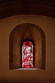 "UNESCO World Heritage Site ""Naumburg Cathedral"", stained glass window by the painter Neo Rauch, Naumburg (Saale), Burgenlandkreis, Saxony-Anhalt, Germany"