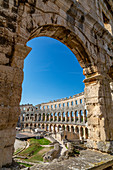 View of the Roman Amphitheatre against blue sky, Pula, Istria County, Croatia, Adriatic, Europe