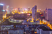 View of Tianfu Expo Center at night, Chengdu, Sichuan Province, People's Republic of China, Asia