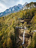 Aerial view by drone of Pericnik Waterfall, Triglav National Park, Upper Carniola, Slovenia, Europe
