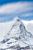 Clouds over Matterhorn covered with snow, Pennine Alps, Zermatt, canton of Valais, Swiss Alps, Switzerland, Europe