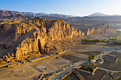Aerial by drone of the site of the great Buddhas in Bamyan (Bamiyan), taken in 2019, post destruction, Afghanistan, Asia