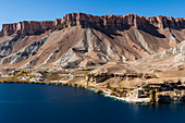 View over the deep blue lakes of the Band-E-Amir National Park, Afghanistan, Asia