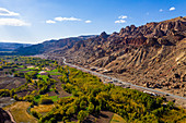 Aerial by drone of Shahr-e Zuhak. the red city, Bamyan, Afghanistan, Asia