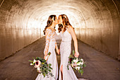 Brides first look pre-wedding ceremony, Corona, California, United States of America, North America