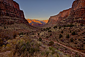 Grand Canyon viewed from Bright Angel Trail just south of Indian Gardens at sundown, Grand Canyon National Park, UNESCO World Heritage Site, Arizona, United States of America, North America