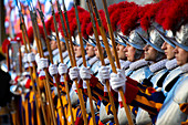 Swiss Guards attend a swearing in ceremony for the new Swiss Guards recruits in San Damaso Courtyard in Vatican City, Rome, Lazio, Italy, Europe