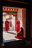 Bhutanese monks talk with head monk, Kyichu Temple, Bhutan, Asia