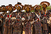 Wodaabe-Bororo men with faces painted at the annual Gerewol festival, courtship ritual competition among the Wodaabe Fula people, Niger, West Africa, Africa