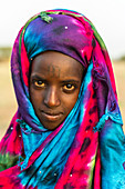Colourful dressed girl at the Gerewol festival, courtship ritual competition among the Wodaabe Fula people, Niger, West Africa, Africa