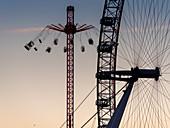Millennium Wheel (London Eye) and Starflyer, South Bank, London, England, United Kingdom, Europe